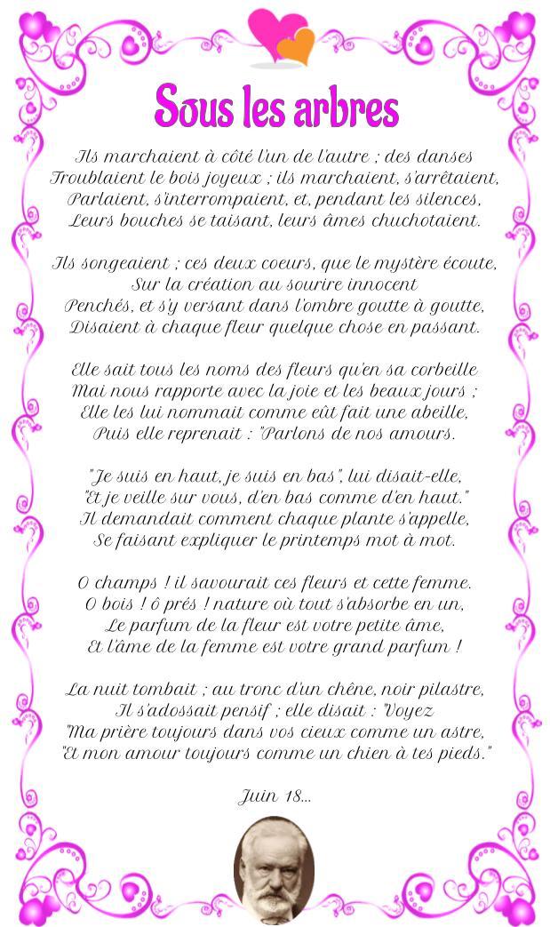 Poème : Sous les arbres de Victor Hugo