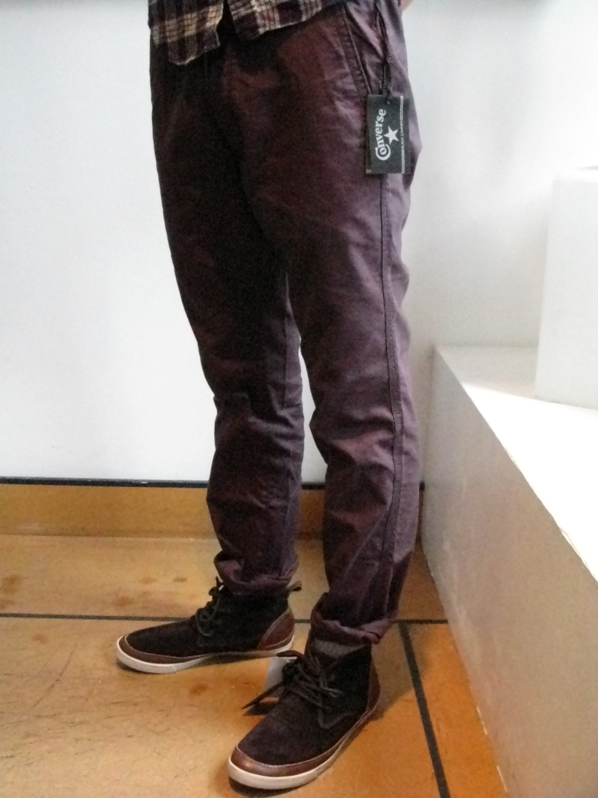 36bdfb4a380394 Converse Black Canvas new Fall raven grey chinos. Tapered slim fit. Styled  with Converse by John Varvatos brown suede sprint grip desert sneakers.