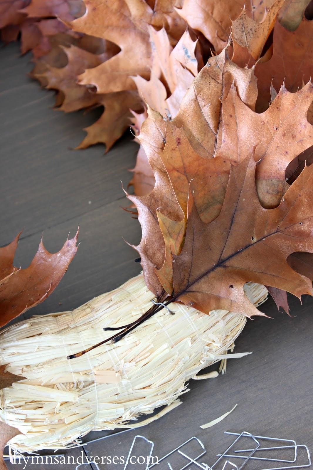 diy fall oak leaf wreath hymns and verses