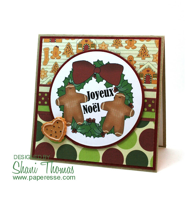 Gingerbread Christmas Wreath digital topper card, by Paperesse.
