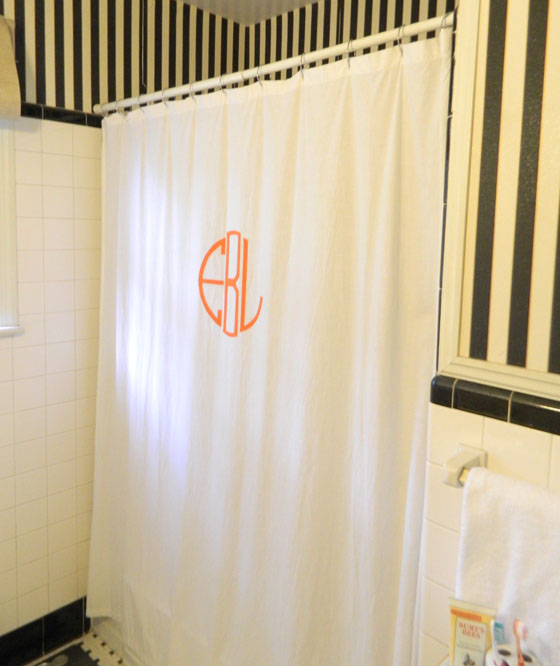 A Creative Day: DIY Monogrammed Shower Curtain