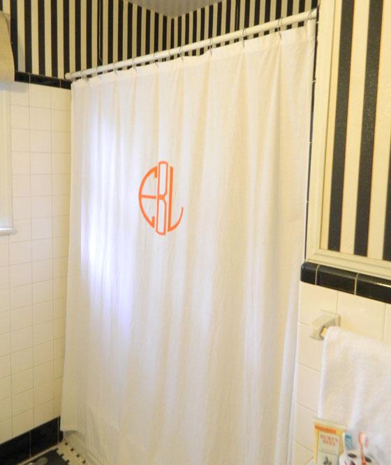 a creative day DIY monogrammed shower curtain