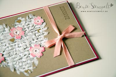 Stampin Up Framelits Blühendes Herz Blooming Heart Hochzeit Wedding Eins für alles Blüten der Liebe Designerpergament  Gold Blüten Glückwunschkarte