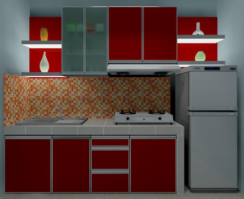 40 Model Dapur  Warna  Merah  Yang Nampak Modern dan Cantik