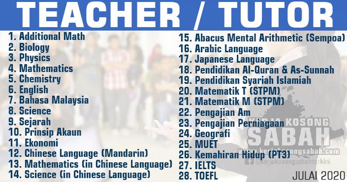 Kerja Kosong Sabah 2020   Teacher / Tutor