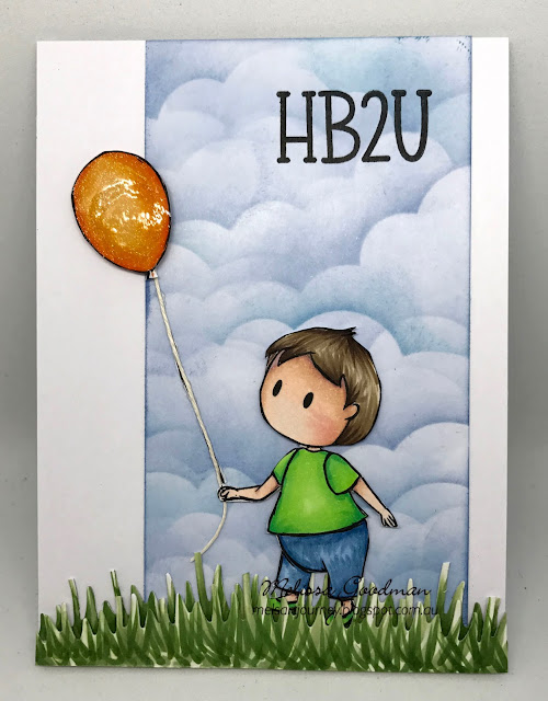 Happy birthday card with a baby and a balloon.