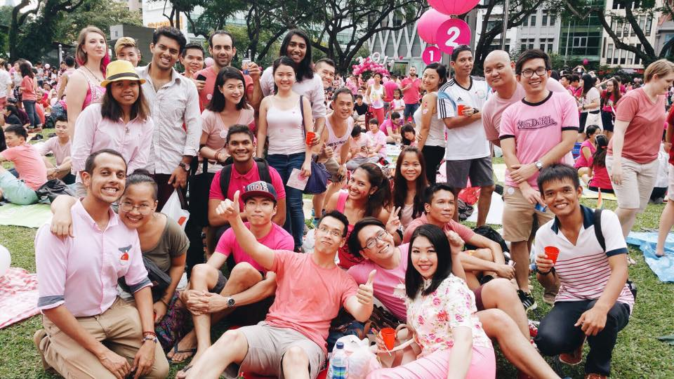 A group of people wearing pink at Pink Dot Singapore