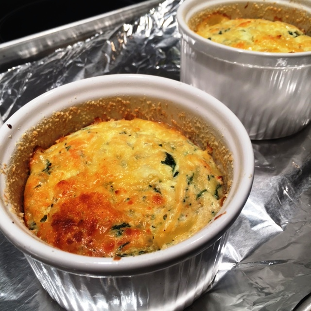 Recipe: Spinach Souffle with Shallots and Smoked Gouda Cheese