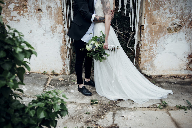 blog mi boda - editorial majestic greenery - ramo novia macrame