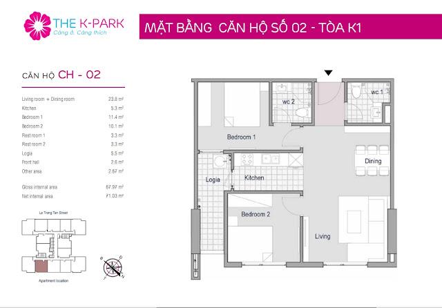Thiết kế căn hộ 02 - Dt 67m2 - 02 phòng ngủ