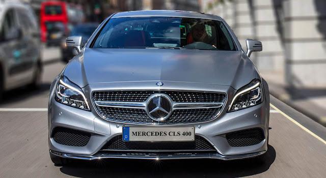 Phần đầu Mercedes CLS 400 2017 thiết kế Lưới tản nhiệt 1 nan với họa tiết kim cương xung quanh