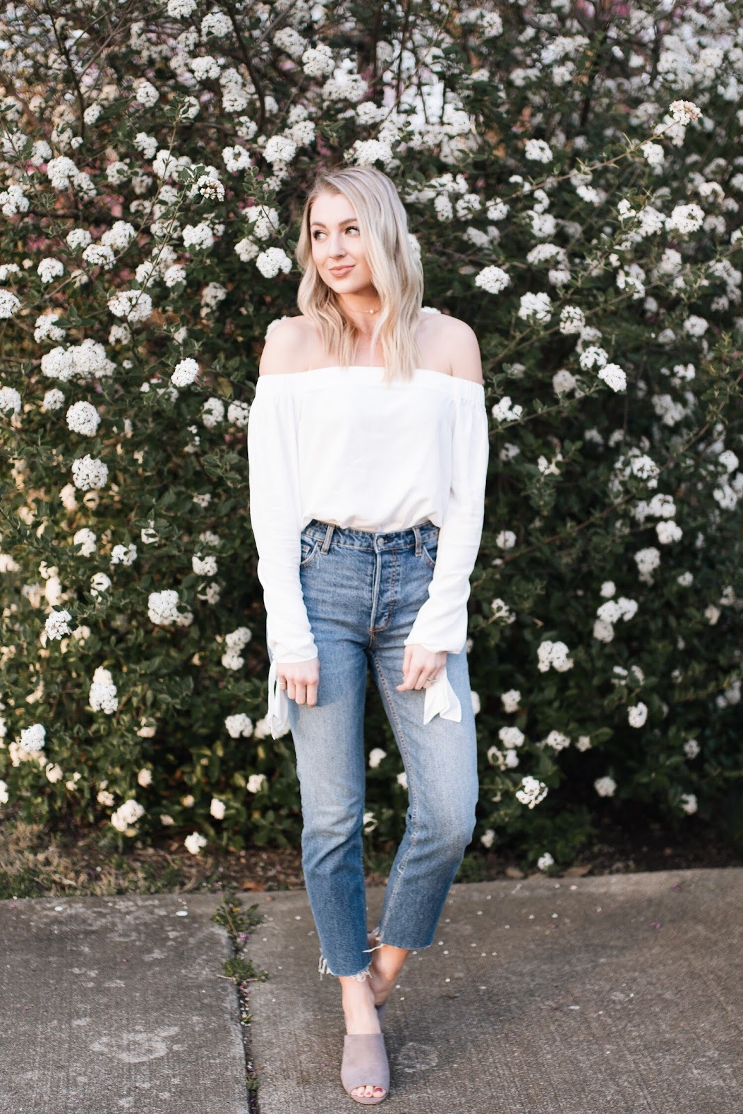 relaxed spring outfit with an off-the-shoulder top