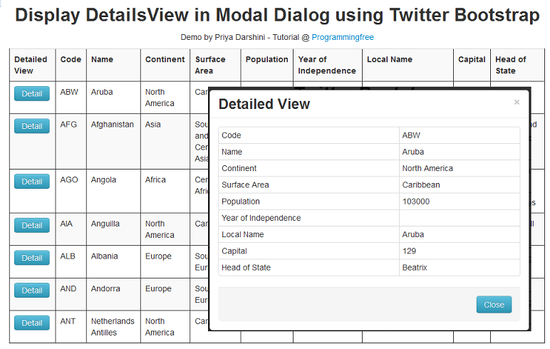 ASP NET: Display GridView Row Details in Modal Popup using Twitter