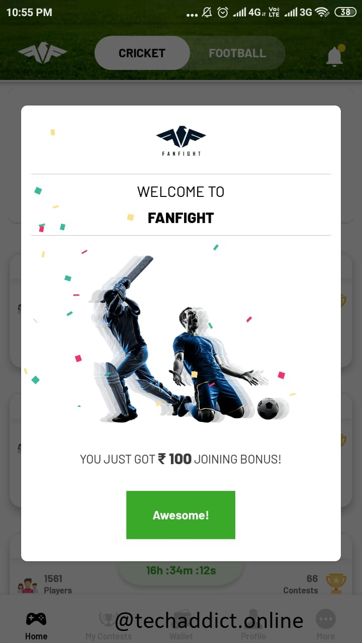 Fanfight App Referral Code Get Rs 100 on Signup and Rs 100