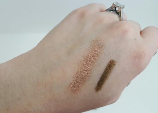 hikari mink shadow and the balm jac b bronze liner swatches