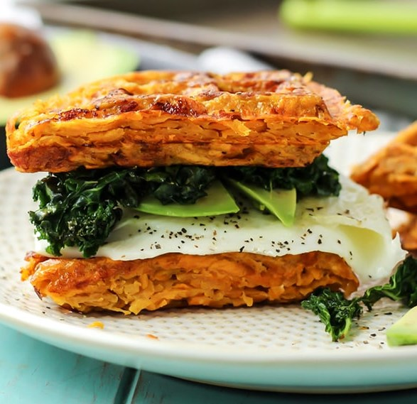 Paleo Sweet Potato Waffle Breakfast Sandwich [ Whole30 ] #healthy #glutenfree