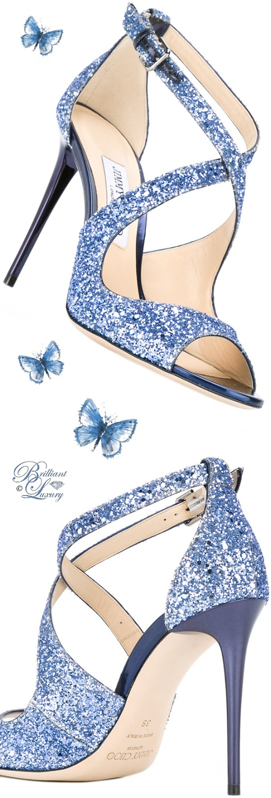 Brilliant Luxury ♦ Jimmy Choo blue glitter Emily Sandals