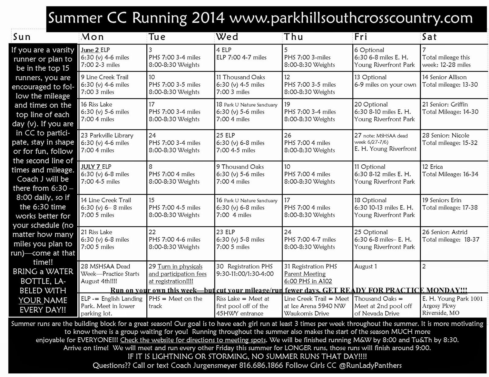 Park Hill South Girls Cross Country Summer Running Calendar