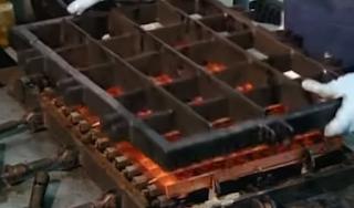 спайка в печи трубки испарителя и решетки для льда