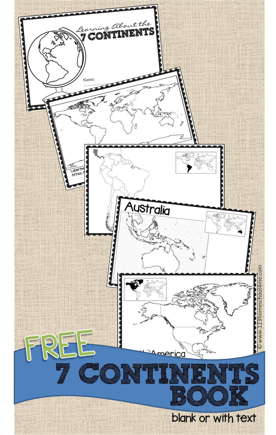 free printable continents book for kids perfect for geography for homeschool kindergarten 1st grade - Free Printable Kindergarten Books