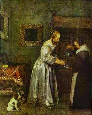 Uma Senhora Lavando as Mãos - Gerard Terborch ~ Pintor Barroco ~ Holandês
