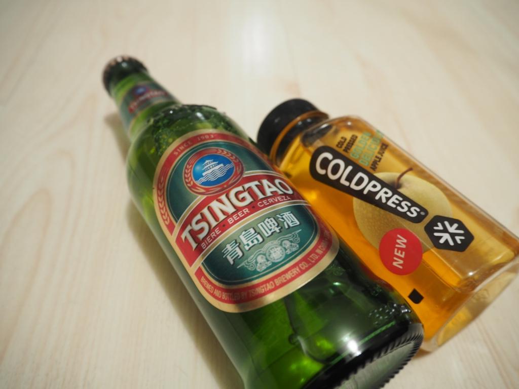 tsingtao beer coldpress apple juice