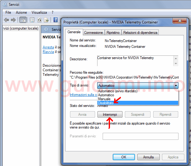 Servizi Windows disattivare servizio Nvidia Telemetry