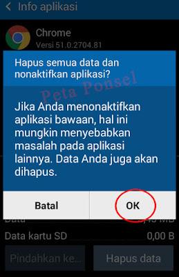 Non-aktifkan aplikasi Google Chrome