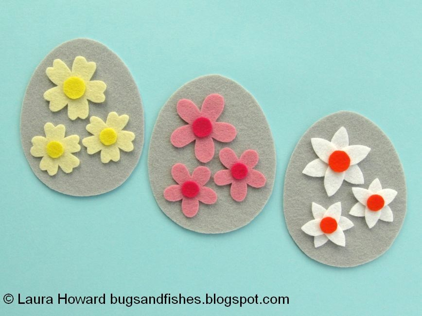 1b33831f09723d Bugs and Fishes by Lupin  Spring Flowers Felt Easter Egg Ornaments ...