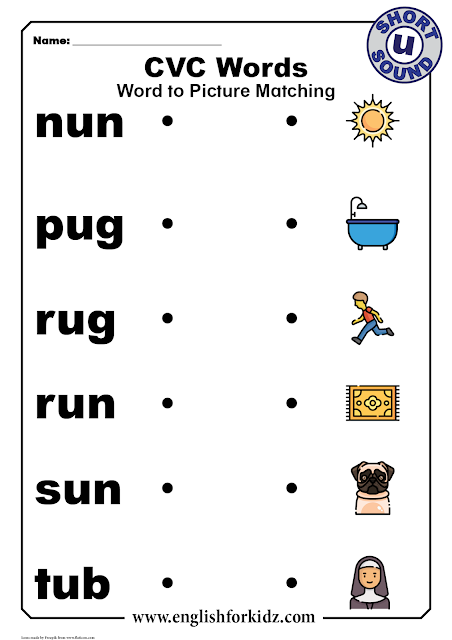 CVC words with pictures - printable worksheets for kindergarten and elementary school