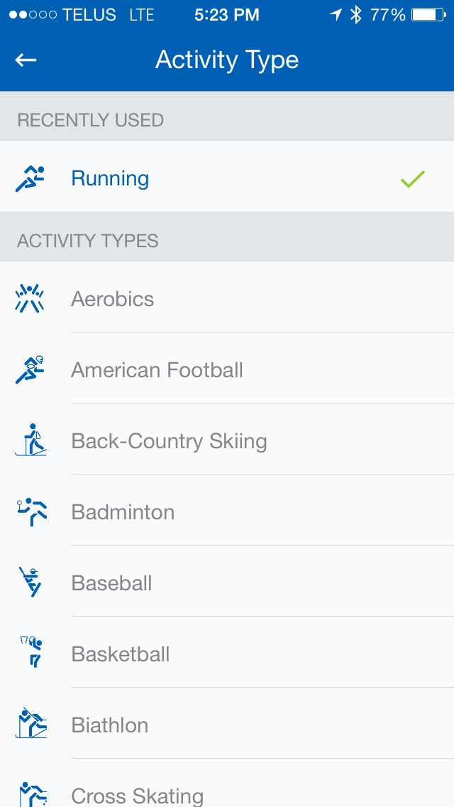 Image for Activity Type for Runtastic