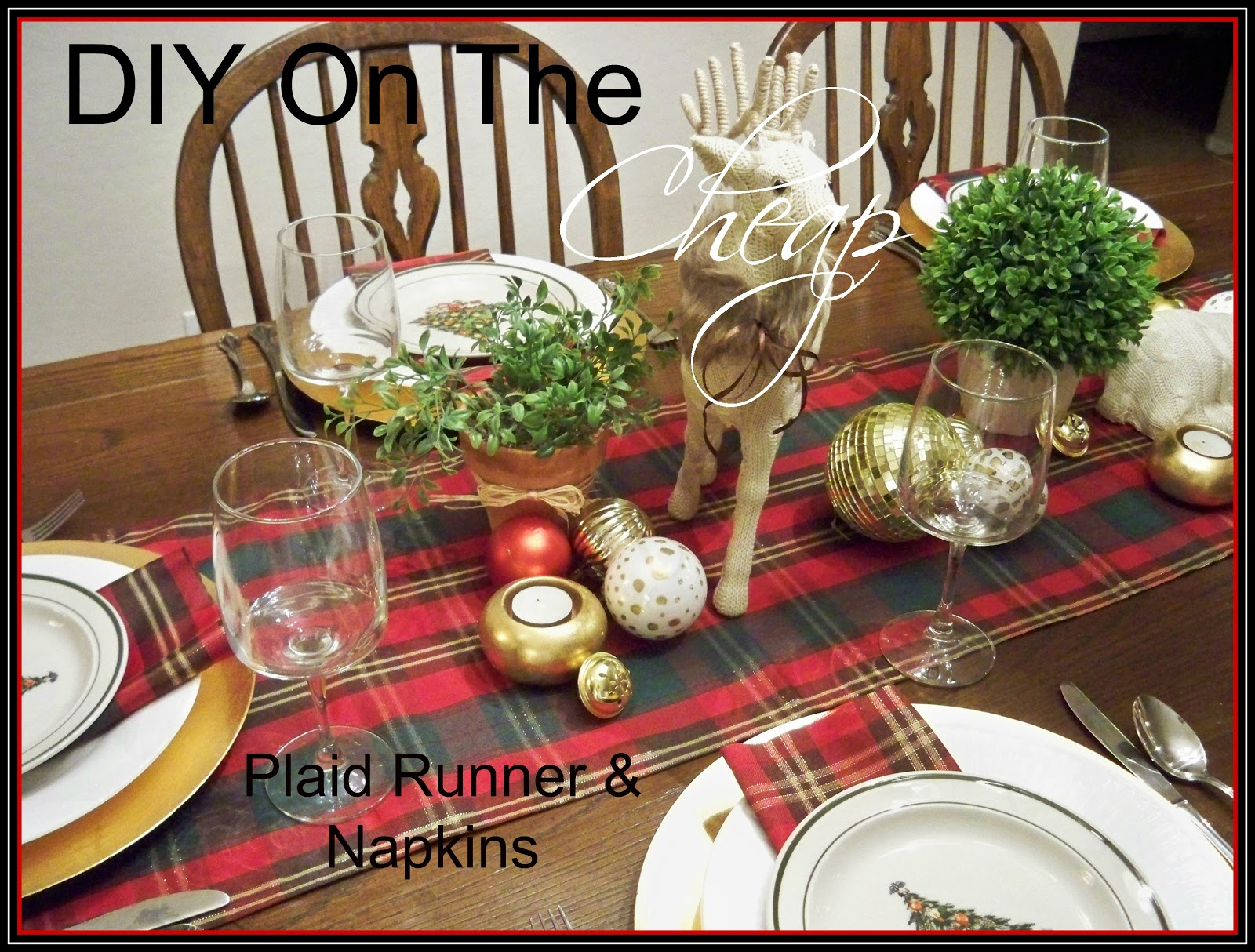 a stroll thru life diy on the cheap plaid table runner napkins - Christmas Plaid Table Runner