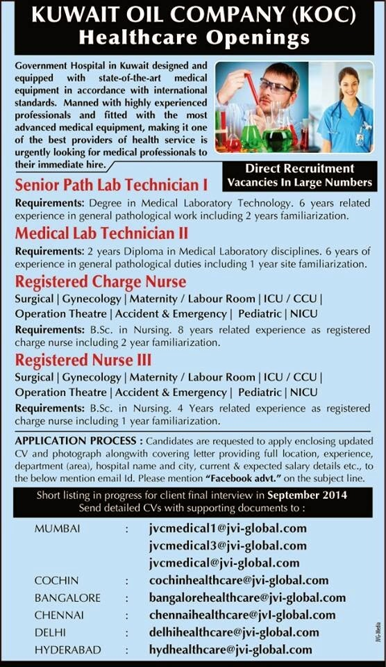 Nursing Career: KUWAIT OIL COMPANY (KOC) HEALTHCARE OPENINGS