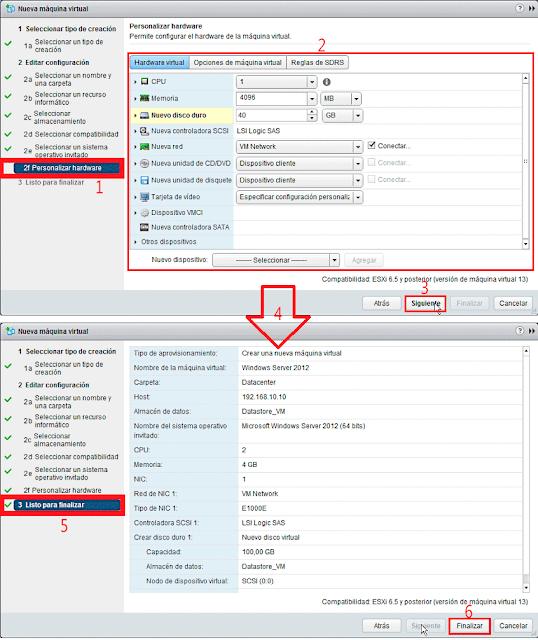 VMware 6.5.0: Crear una nueva máquina virtual - Personalizar Harware