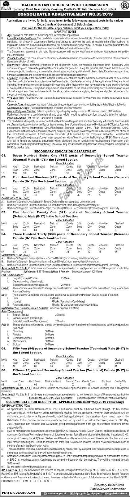 Educator jobs 2019 by BPSC | 2120+ Teaching Vacancies | Secondary School Teachers