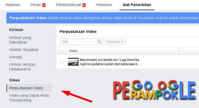 pilih perpustakaan video pada menu penerbitan di fanspage