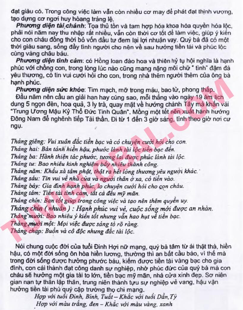 Xem tử vi tuổi Đinh Hợi nữ mạng năm 2014 Giáp Ngọ