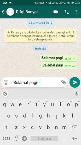 Cara Membuat Tulisan Coret Tengah di Whatsapp