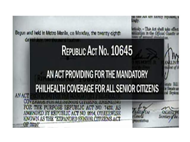 "According to to Republic Act No. 10645 ""All senior citizens shall be covered by the national health insurance program of PhilHealth. Funds necessary to ensure the enrollment of all senior citizens not currently covered by any existing category shall be sourced from the National Health Insurance Fund of PhilHealth from proceeds of Republic Act No. 10351, in accordance with the pertinent laws and regulations."" Read more: https://www.jbsolis.com/2016/07/republic-act-no-10645-free-and.html#ixzz4MMAlFTJU"