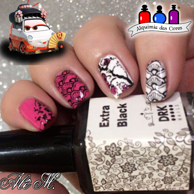 Cliché Gel, Hello Kitty 04, Rosa Chiclete, Branco, Essence, Wild White Ways, Sugar Bubbles, SB022, SB007, SB043, Extra Black DRK Nails, Alê M.