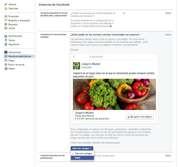 configuración de anuncios facebook