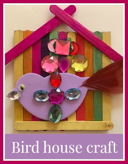 Bird house craft with lollipop sticks for children