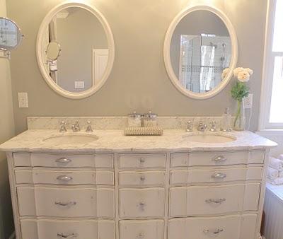 My domestic bliss master bath heaven - Bathroom vanities from old dressers ...