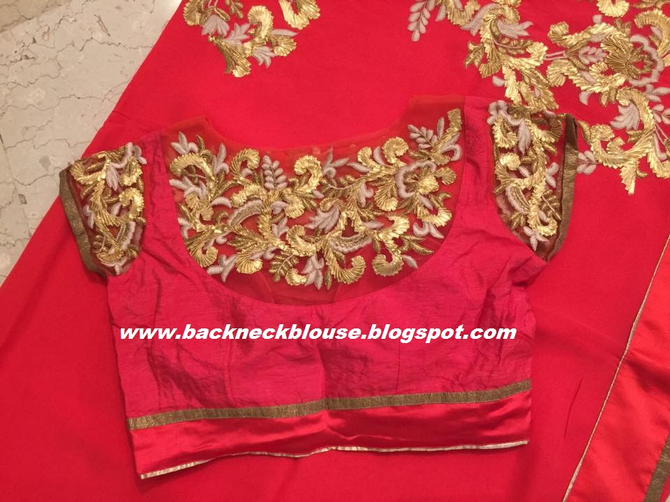 Back neck blouse ready made and customized designer