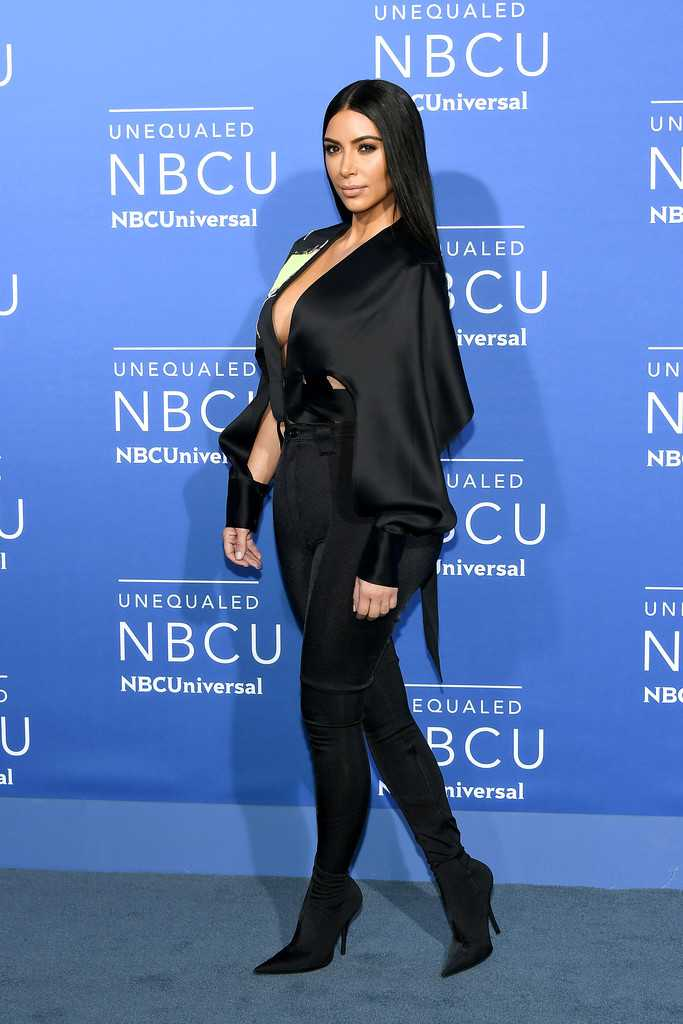Kim Kardashian wears plunging top to the 2017 NBCUniversal Upfront in NYC