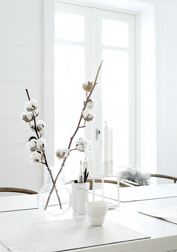 Decorating with cotton branches | Pella Hedeby