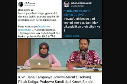 ICW Uungkap: 86% Dana Kampanye Jokowi-Maruf dari Klub Golfer, Prabowo-Sandi dari Kocek Sendiri