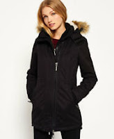 Womens Superdry Microfibre Tall SD-Windparka Jacket Black