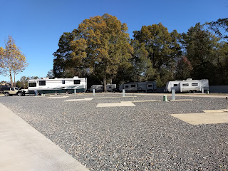 row of campsites, some vacant