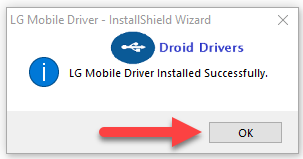 Successfully installed LG Mobile Driver OK